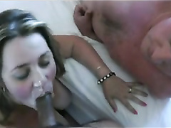 British housewife lets the buddy cum on her face