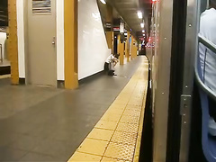 Drunk girl caught peeing at the metro station
